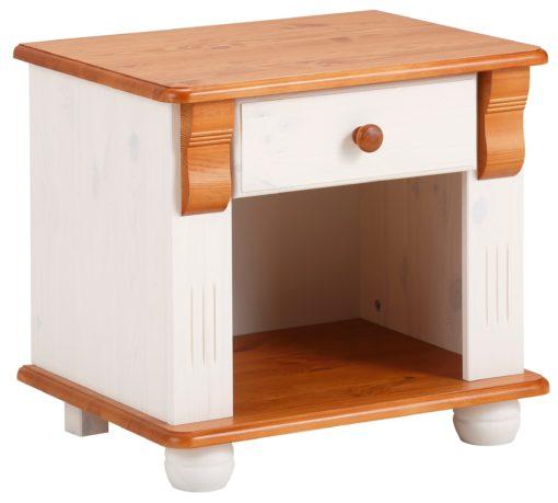 Prosta, sosnowa szafka nocna z szufladką, biało-wiśniowa