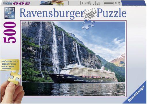 """Puzzle Ravensburger 500 elementów """"Statek na fiordzie"""""""