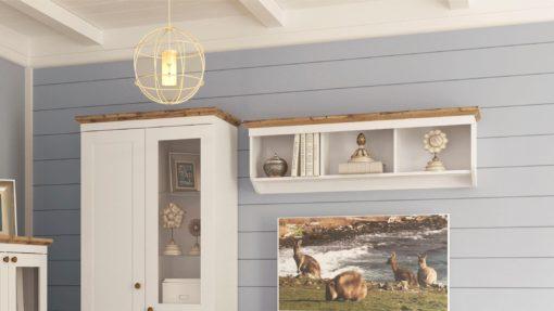 Regał na ścianę w stylu rustykalnym, biel + dąb