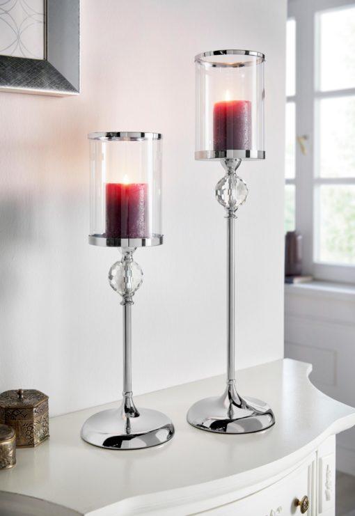 Romantyczny świecznik z metalową nogą 65 cm