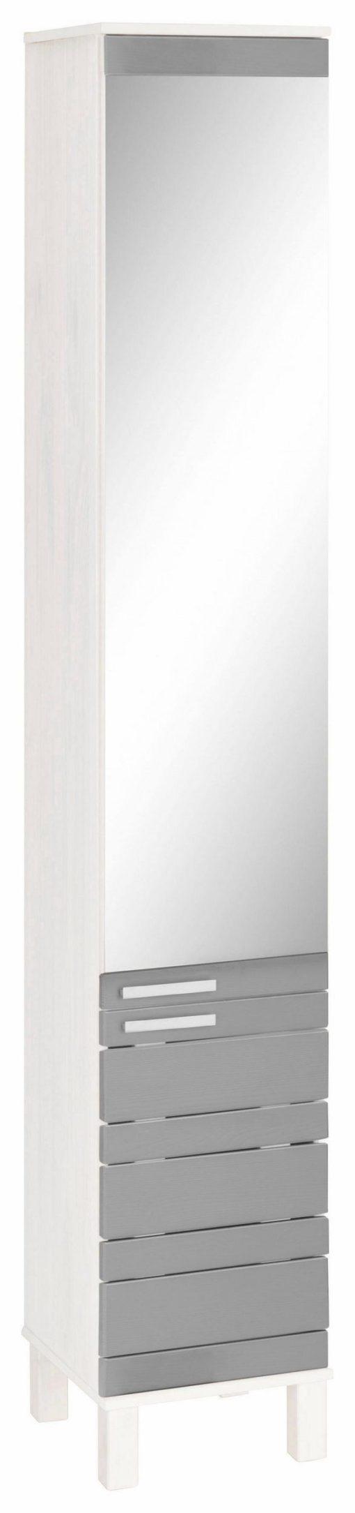Praktyczna szafka-słupek z lustrem, sosnowa