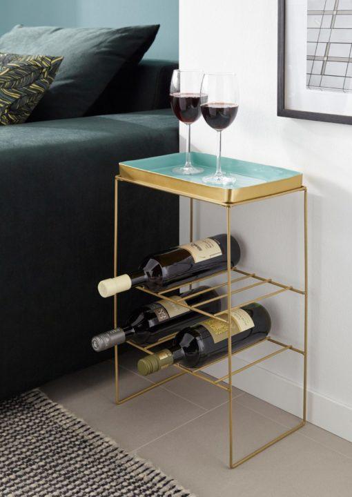 Złoty stojak na wino ze zdejmowanym, miętowym blatem