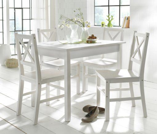 Sosnowy stół do jadalni 100x70 cm, biały