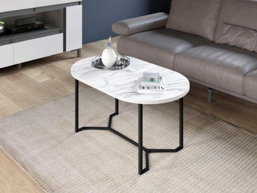 Stolik kawowy o ciekawym kształcie z blatem imitującym kamień