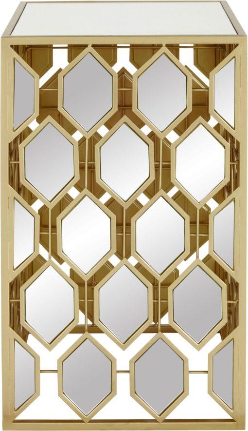 Stylowy złoty stolik z lustrzanymi elementami