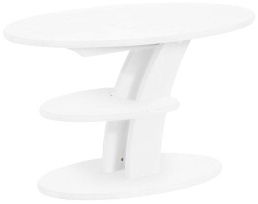Sosnowy stolik o niezwykłym kształcie, biały