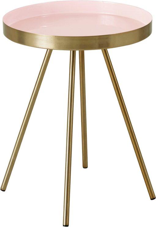 Dekoracyjny stolik z kolorowym blatem i złotą podstawą