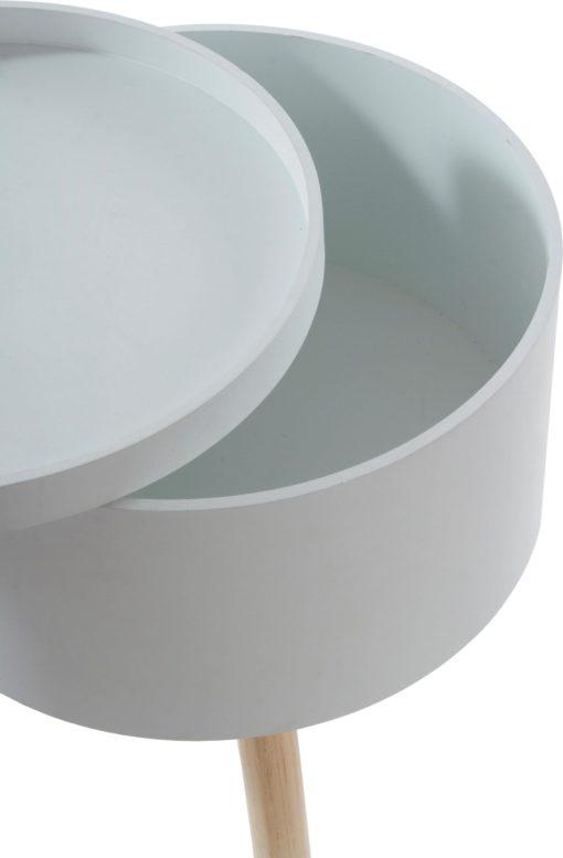 Biały stolik w skandynawskim stylu ze schowkiem