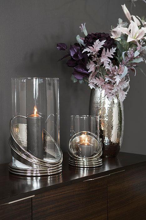 Srebrny świecznik FINK, metal i szkło