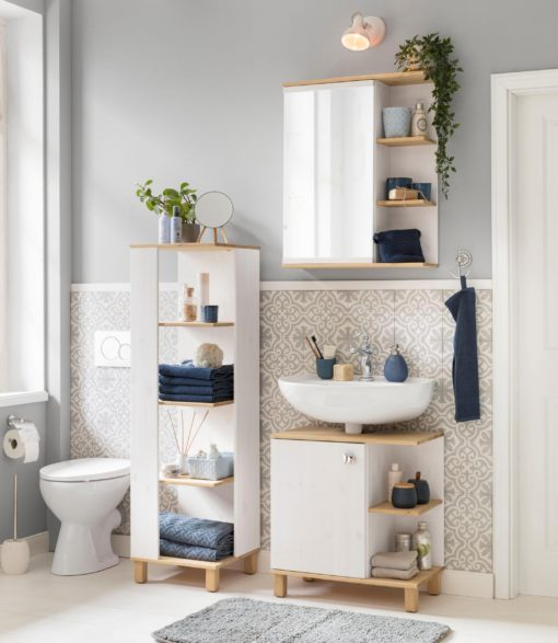 Sosnowa szafka pod umywalkę, nowoczesny wygląd