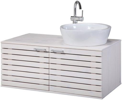 Drewniana szafka pod umywalkę z okrągłą umywalką