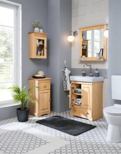 Sosnowa szafka pod umywalkę z ceramiczną umywalką