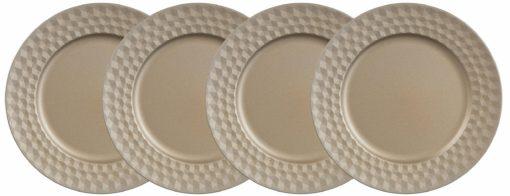 Cztery dekoracyjne talerze w odcieniach złota