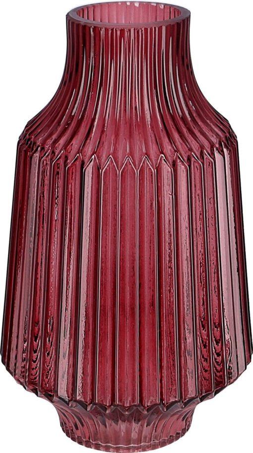 Szklany wazon w kolorze bordowym