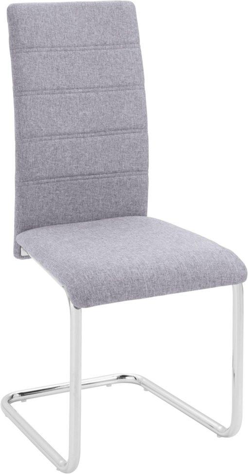 Zestaw: biały stół w połysku i 4 szare krzesła na płozach