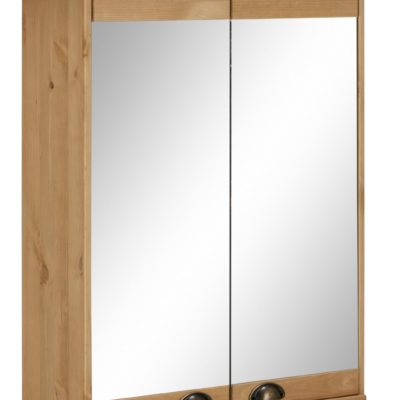 Sosnowa szafka z lustrem, uchwyty muszle