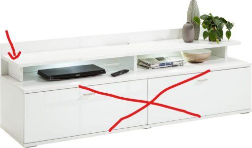 Nadstawka na szafkę rtv/ półka, biały połysk