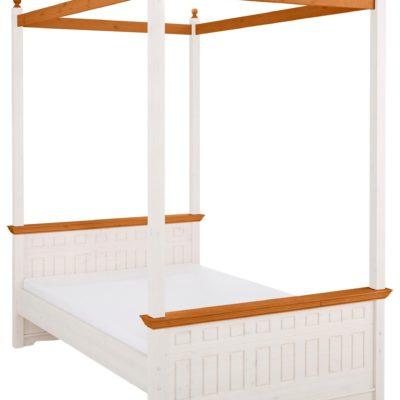 Sosnowy baldachim do łóżka 140 cm, biało-miodowy