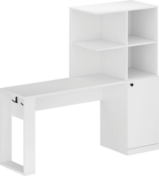 Białe biurko z półkami, wieszakami i komodą