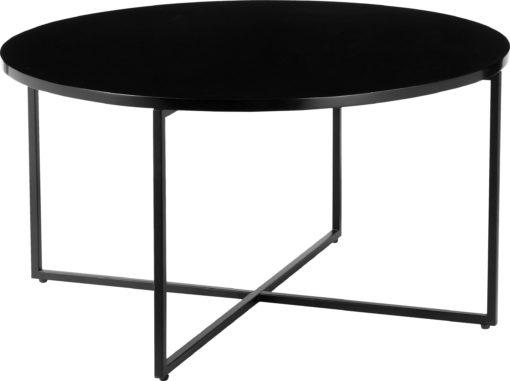 Okrągły, czarny stolik do salonu, ponadczasowy design