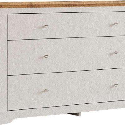 Elegancka komoda z sześcioma szufladami, biało-dębowa