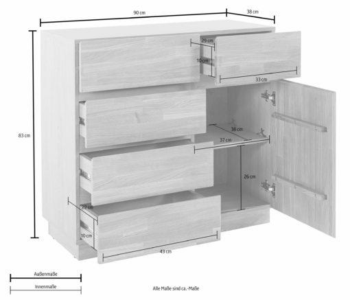Nowoczesna komoda bez uchwytów, front z drewna bukowego