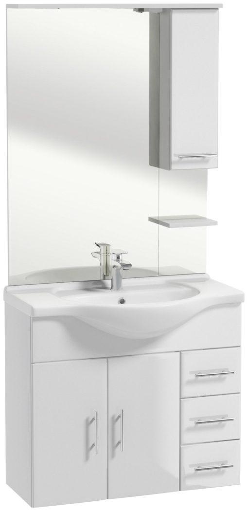 Komplet mebli łazienkowych, białych z umywalką