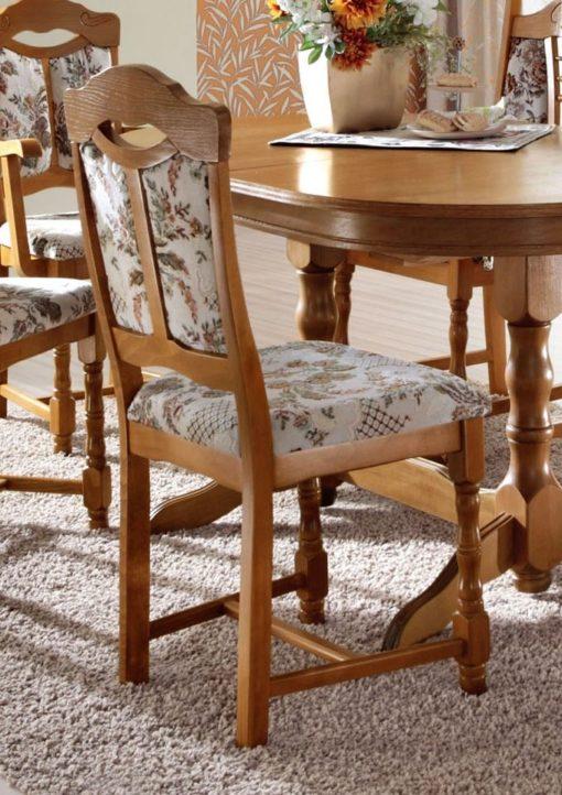 Klasyczne, dębowe krzesła tapicerowane - 6 sztuk