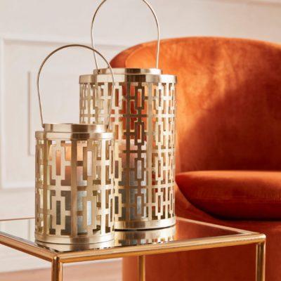 Dwie złote latarenki w stylu orientalnym
