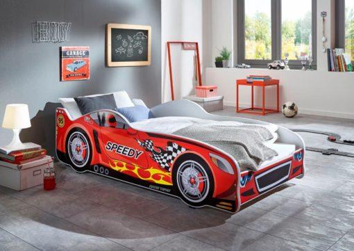 Łóżko dziecięce w kształcie samochodu, z materacem