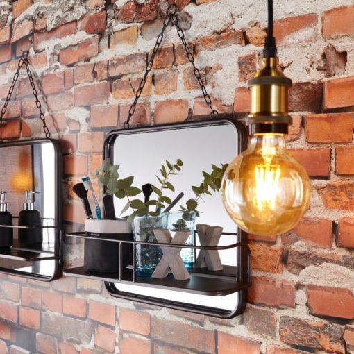 Metalowe lustro z półką w stylu industrialnym