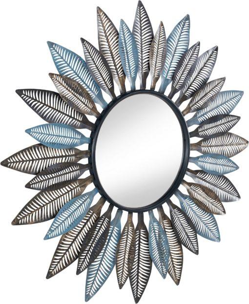 Okrągłe lustro z niezwykłą, metalową ramą