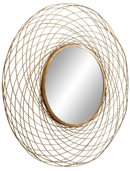 Atrakcyjne, złote lustro z ażurową ramą