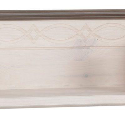Zdobiona półka ścienna z sosny, 120 cm, biało szara