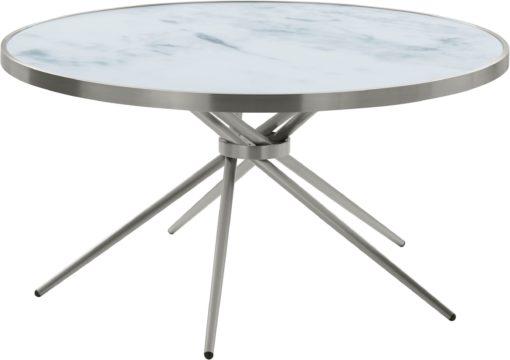 Ciekawy, srebrny stolik o nowoczesnym designie, duży