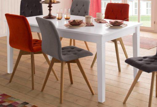 Sosnowy rozkładany stół, biały, 140 cm