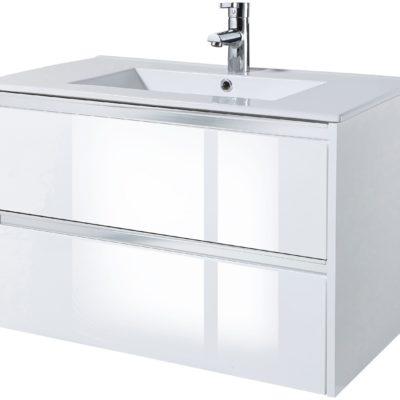 Biała szafka pod umywalkę w połysku, 80cm z ceramiczną umywalką
