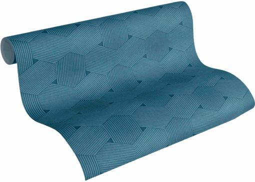 Geometryczna tapeta z włókniny w odcieniach niebieskiego