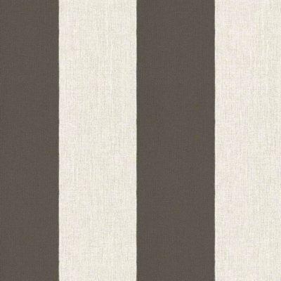 Tapeta z włókniny w kremowo-brązowe pasy