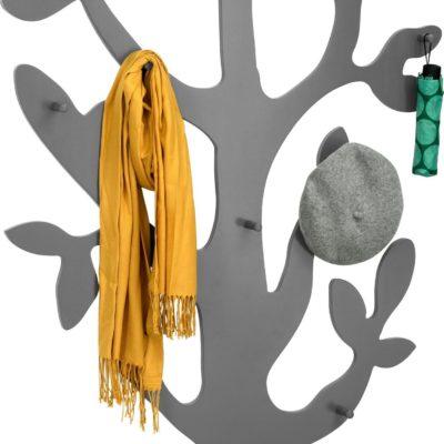 Modny wieszak ścienny w kształcie drzewa - szary