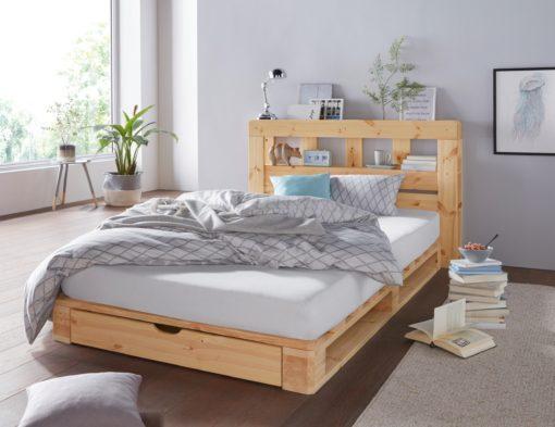 Sosnowy zagłówek do łóżka, z półkami