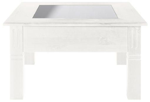 Uroczy, sosnowy stolik z szufladą, biały