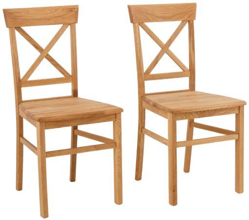Dębowe krzesła z krzyżowym oparciem - 4 sztuki