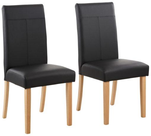 Tapicerowane krzesła, czarne - zestaw 4 sztuki