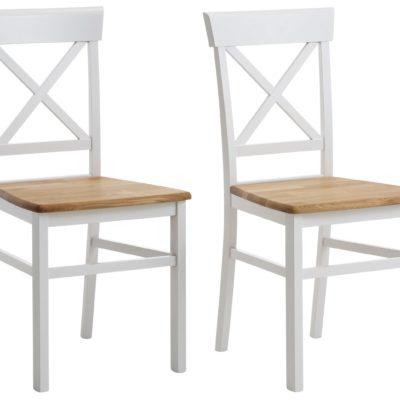 Drewniane krzesła w kolorze biel/dąb - 2 sztuki