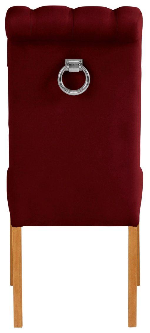 Eleganckie, bordowe krzesła z pikowaniem i kołatką z tyłu - 2 szt