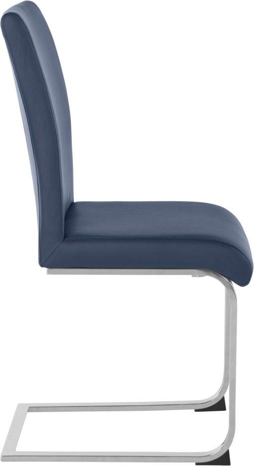 Granatowe krzesła z ekoskóry na płozach - 2 sztuki