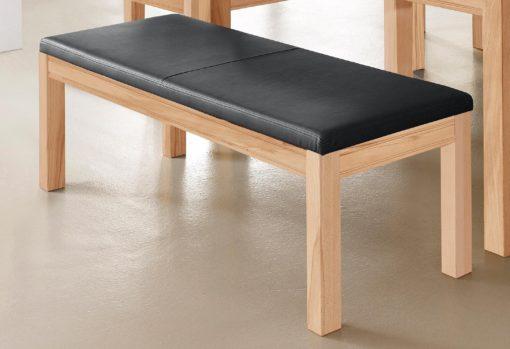 Bukowa ławka z tapicerowanym ekoskórą siedziskiem