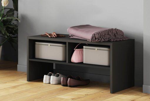 Grafitowa ławka z półkami, do małych przestrzeni