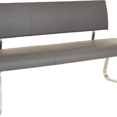 Nowoczesna ławka z przwdziwej skóry, 155 cm, szara